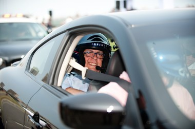 The Jersey Journal's Political Insider, alias Opinion Page Editor Agustin Torres, rides in an Infiniti IPL G Coupe driven at high speeds by former Monaco Grand Prix winner David Coulthard on the Grand Prix of America circuit in North Hudson on June 11, 2012.