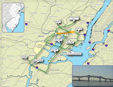 The NJDOT has provided a map of other alternatives to the skyway. Image courtesy NJDOT