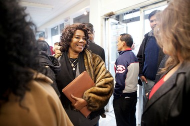 Jersey City Ward F City Councilwoman Diane Coleman, seen here at the Jan. 12 opening of Councilman Steve Fulop's campaign headquarters