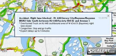 A tractor trailer overturned on Route 440 in between Bayonne and Jersey City around 12:30 p.m.