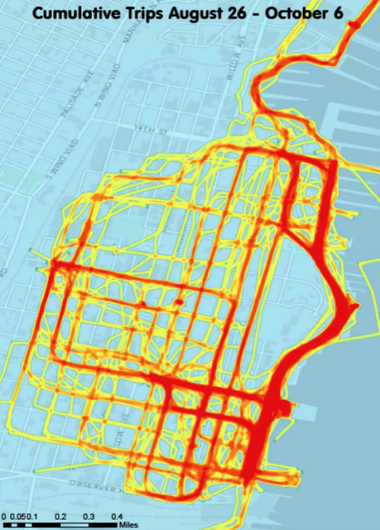This heat map shows the riding paths of those who participated in Hoboken's bicycle-sharing program between Aug. 26 and Oct. 6. The most used hubs were those located at the PATH station and Pier A.