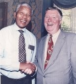 Former Jersey City Acting Mayor Joseph Rakowski meeting Nelson Mandela in 1992 at a party held by then New York Mayor David Dinkins at Gracie Mansion.