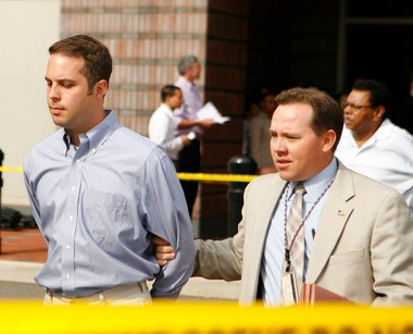 Newly sworn in Hoboken Mayor Peter Cammarano is led into the federal courthouse in Newark during the Operation Bid Rig III roundup in July 2009. His downfall cleared the way for City Council President Dawn Zimmer to become mayor.