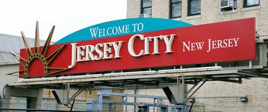 "A 'welcome to Jersey City"" sign is seen in August 2013."