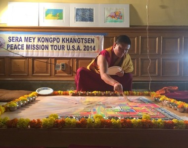 Three Tibetan monks held a ceremony on April 25, 2014 at Jersey City City Hill to dissolve the sand mandala they created on the municipal building's second floor.