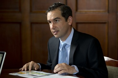Jersey City Mayor Steve Fulop is seen in his office last month as he prepared to mark his first anniversary in office. Reena Rose Sibayan/The Jersey Journal