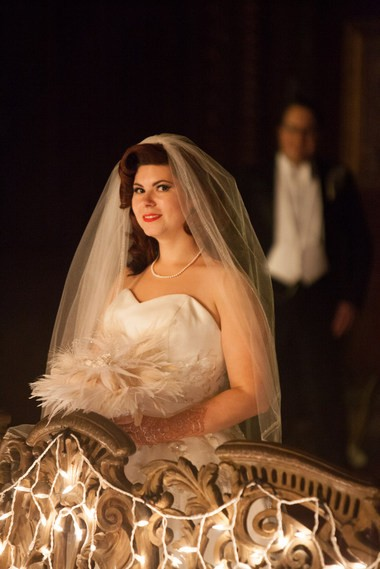 Colleen Mills-Finnerty and her husband Delsin, in the background, on their wedding day.
