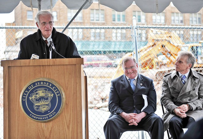 The late Lowell Harwood of Harwood Properties with then-Mayor Jerramiah Healy, center, and Bob Antonicello, then the executive director of the Jersey City Redevelopment Agency, right, in 2009. Reena Rose Sibayan | The Jersey Journal
