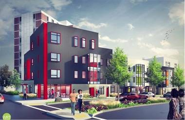 A rendering of the new homes planned for the Montgomery Gardens site. Courtesy of Jersey City