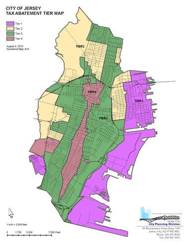A map of the new tiers that will govern the tax incentives Jersey City developers will receive. Courtesy of Jersey City.