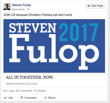 An ad touting Jersey City Mayor Steve Fulop that popped up on Facebook on Oct. 3, 2015 and is not, Fulop says, an announcement that he is running for governor.