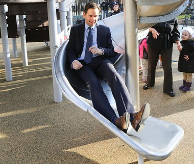 Super PACs helping Jersey City Mayor Steve Fulop easily slide into Drumthwacket? No. It's a ribbon cutting for $250,000 of improvements at Janet Moore Park at Ogden Avenue and Cuneo Place in Jersey City that took place on Monday, December 7, 2015.
