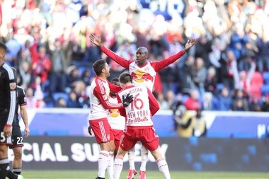 New York Red Bulls forward Bradley Wright-Phillips celebrates a goal against D.C. United during the 2015 Home Opener match at Red Bull Arena on March 22, 2015 in Harrison.