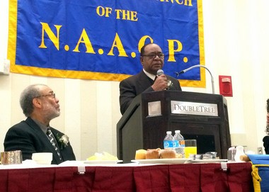 Bill Braker, president of the Jersey City branch of the NAACP, is seen speaking that the organization's 35th Annual Memorial Breakfast at The Double Tree Hotel on Frontage Road in Newark on Jan. 16, 2016. Jonathan Lin | The Jersey Journal