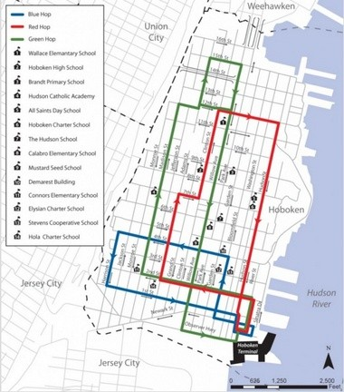 The Hop has three routes that overlap, forming a network that passes within a few blocks of nearly every spot in the city. Riders can flag down a bus and ask to be dropped off at any corner along it route. (City of Hoboken)