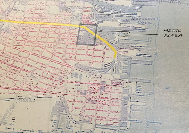 An illustration from James Riffin's federal complaint against a Forest City subsidiary shows in yellow the rail line that formerly ran along Sixth Street in Jersey City and through the site now known as Metro Plaza.
