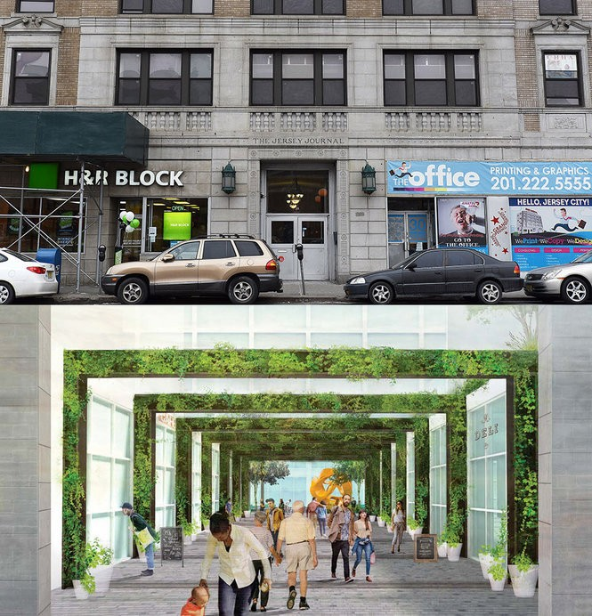 On top, the entrance to the old Jersey Journal building in Jersey City. Below it, an early rendering of the open-air market developers plan to create using the facade of the newspaper's old headquarters. Reena Rose Sibayan | The Jersey Journal/Courtesy of Jersey City