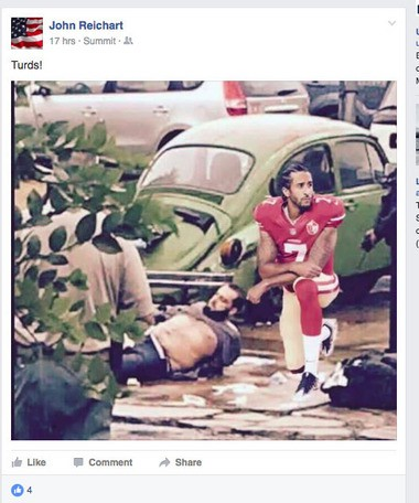 A Facebook post Jersey City Board of Education Vice President John Reichart posted on Sept. 19, 2016 shows an altered image of accused Chelsea bomber Ahmad Khan Rahami and football star Colin Kaepernick.