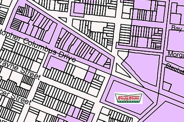 A map of a portion of Downtown Jersey City, with the purple areas indicating the lots where chain stores are restricted.