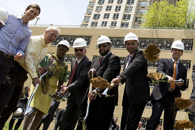 Jersey City Mayor Steve Fulop, far right, and Jared Kushner, far left, with members of the City Council at the May 14, 2014 groundbreaking for Kushner's Trump Bay Street. (Reena Rose Sibayan | The Jersey Journal)