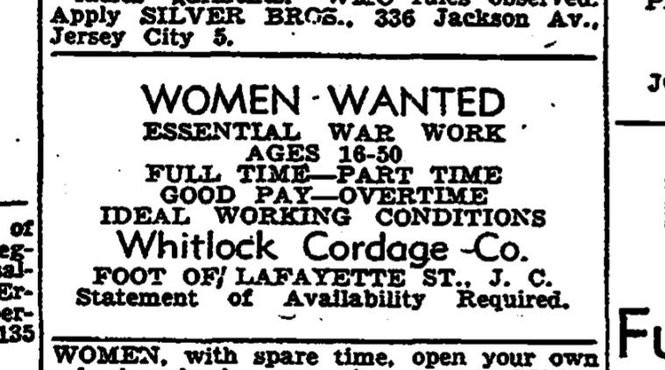 A World War II-era ad seeking women to work at Whitlock Cordage Co. in Jersey City.