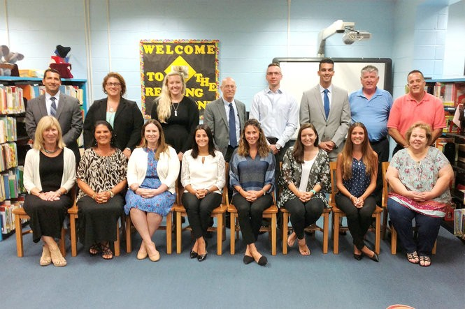 A number of new Secaucus school district staff members were appointed at the Aug. 24 Board of Education meeting. Pictured in bottom row, from left, are Director of Special Services Susan Smahl, Huber Street School Principal Linda Wilhelm, Secaucus Middle School Special Education Language Arts Teacher Amy Haddad, Clarendon School Long Term Replacement Fourth Grade Teacher Tara Mizzoli, Huber Street School Basic Skills Instruction/Special Education Teacher Alexandra Zaller, Huber Street School Long Term Replacement Fourth Grade Teacher Alexandria Robitaille, Secaucus High School Long Term Leave Replacement Guidance Counselor Elise Lennon, and Special Services Secretary Donna Waiver; top row, from left, are Clarendon School Principal Steve Viggiani, Director of Curriculum Dr. Daniela Riser, Huber Street School Second Grade Teacher Shelbey Manthorpe, 6-12 Science Supervisor Jerome Kaiser, District-wide Computer Technician Matthew Miller, Secaucus High School Business Teacher Matthew Whitford, Board of Education President Jack McStowe and Secaucus Middle School Principal Rob Valente.
