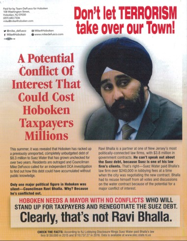 A flier left on car windshields Friday night in Hoboken, associated a mayoral candidate, Councilman Ravi Bhalla, a Sikh, with terrorism.