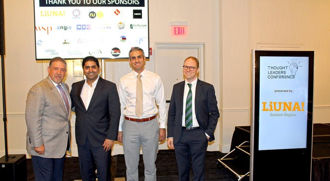 Jim Kirkos, left, president & CEO for the Meadowlands Regional Chamber, with speakers Sarfraz Maredia, regional general manager for UBER Technologies; Garo Hovnanian for McKinsey & Company and Jim Venturi, founder of ReThink Studio, at the Meadowlands Regional 2040 Foundation Thought Leaders conference on Oct. 26. (Meadowlands Regional Chamber photo)