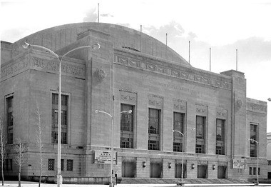 The Philadelphia Civic Center is seen in a 1962 city of Philadelphia photo. A frieze that adorned the building has been installed in Bayonne.