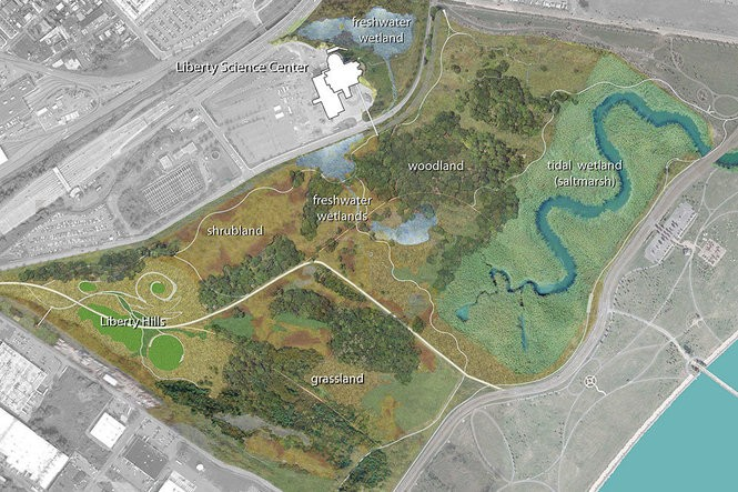 An early conceptual drawing of a state plan to create a wildlife oasis inside Liberty State Park.