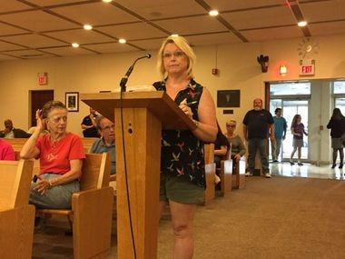 Stacie Percella speaking to the Bayonne City Council on May 17, 2017. (Corey W. McDonald | The Jersey Journal)