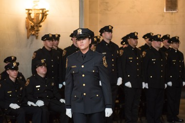 The Hudson County Sheriff's Office holds a swearing-in ceremony for twenty-seven new officers, including seven investigators, at the William J. Brennan Courthouse in Jersey City on Thursday, June 8, 2017. Seen here is Kristen Hyman. (Reena Rose Sibayan | The Jersey Journal)