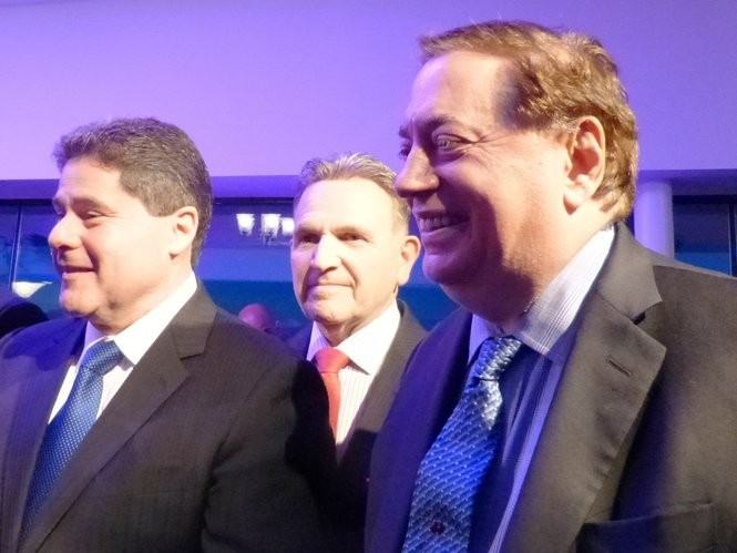 West New York Mayor Felix Roque, left, Hudson County Sheriff Frank Schillari and North Bergen Mayor and state Sen. Nick Sacco are among the hundreds who jammed Union City Mayor and state Sen. Brian Stack's 2016 fundraiser at the Palisadium in Cliffside Park. Today they all politically stand farther apart.