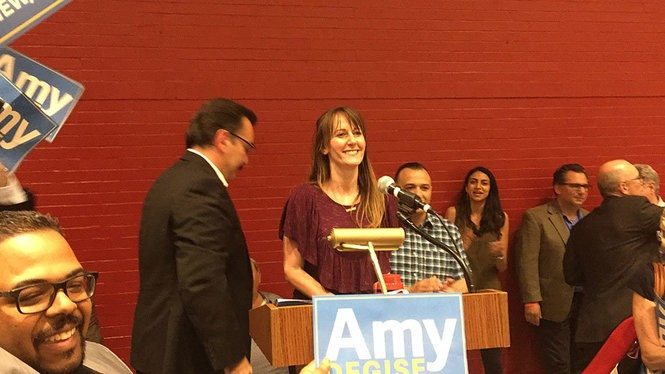 Amy DeGise after being declared the winner of the June 12, 2018 Hudson County Democratic Organization chair election.