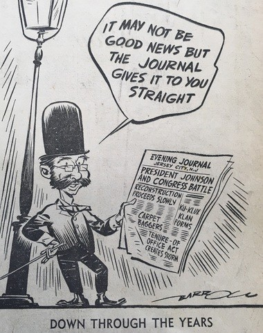 The May 2, 1942, edition of The Jersey Journal included this editorial cartoon marking the paper's 75th anniversary and reminding readers that it is the duty of the press to report on society's ills.