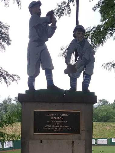 A statue at the Original Field in Williamsport, Pennsylvania, commemorates Carl E. Stotz's nephews, for whom he came up with the idea for Little League baseball. Photo courtesy of Jimmy Enright.