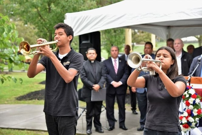 North Bergen held its annual 9/11 ceremony at Veterans Plaza in North Hudson James J. Braddock Park. The event recognized all victims of the attacks, but particularly four North Bergen residents who died in the attacks and Sgt. Marcos Gorra, who was killed in action in Afghanistan in 2010.