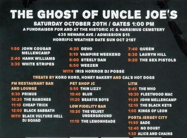 Local bands in costume will play covers of songs by the musicians above in the daylong Ghost of Uncle Joe's festival and at after-parties at local clubs.
