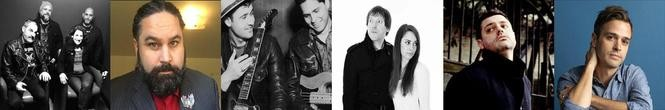 (l. to r.)Some of the faces of Hudson County music in 2018: Black Wail, Roland Ramos, the Skullers, Sunshine & The Rain, Ryan Smith of Turnpike Gates, Val Emmich