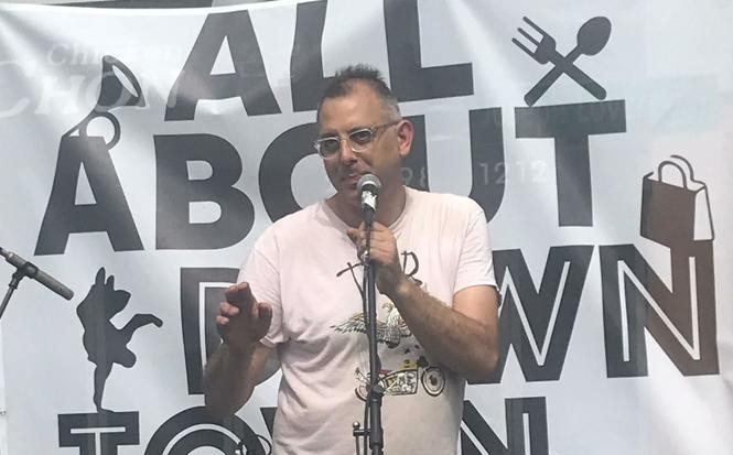 """Promoter """"Dancing Tony"""" Susco was officially named Jersey City's Commissioner of Fun by Mayor Fulop, bringing live music to FM, Groove on Grove, the All About Downtown Festival, and the Harsimus Cemetery."""