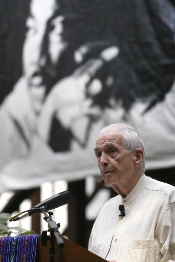 The Rev. Daniel Berrigan speaks during the 2006 dedication of the then-St. Peter's College Dr. Martin Luther King-Kairos Peace and Justice House in Jersey City.