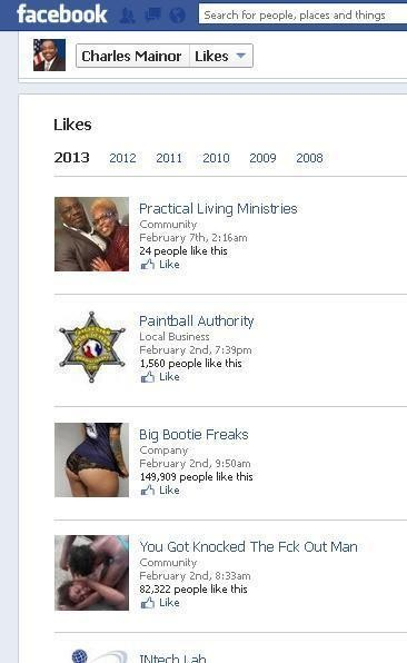 "A screenshot of Assemblyman Charles Mainor's Facebook page showing his ""Favorites,"" including two pages that included highly sexual and violent material."