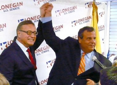Steve Lonegan and Chris Christie at the Republican rally in Flemington Tuesday.