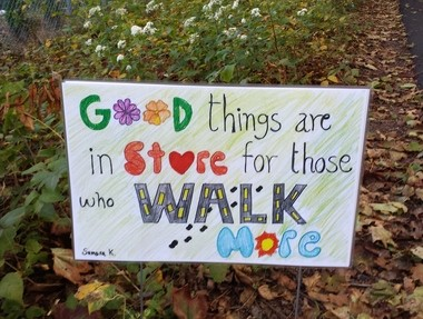 Hunterdon Schools kicked off Walk to School season. Students at several schools designed posters that were converted into lawn signs and displayed along the walking routes to promote walking to school and pedestrian safety. (courtesy photo)