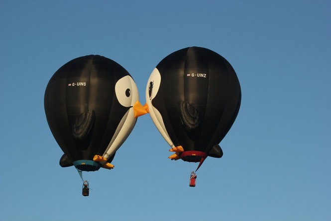 Two new special shaped balloons at the QuickChek New Jersey Festival of Ballooning are Puddles and Splash, a pair of adorable 90-foot-tall penguins from the United Kingdom that kiss in mid-flight. The festival takes place July 29-31. (courtesy photo)