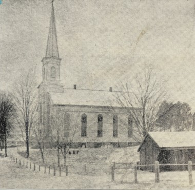 In the 19th century, Readington Reformed had a tall, pointy steeple.