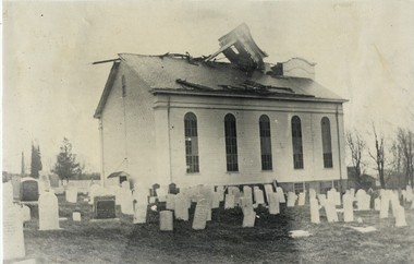 In 1913 a hurricane blew the steeple off the church.