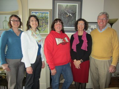 Partners celebrate the preservation victory with landowner, Heidi Trstensky of Kingwood Township. Pictured here are, (from left) Julie Hajdusek, New Jersey Water Supply Authority; Patricia Ruby, Hunterdon Land Trust; Heidi Trstensky, landowner; Kate Buttolph, Hunterdon Land Trust; and attorney, George Dilts.