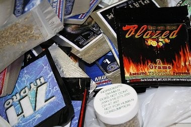 """Packets of """"K2"""" and other brands of synthetic marijuana and methamphetamines seized by the Division of Consumer Affairs during a crackdown."""