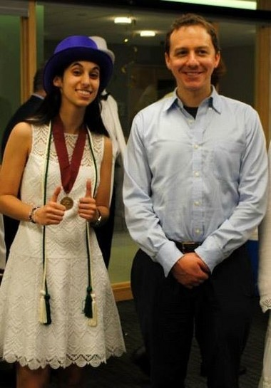 Young planet hunter Thea Kozakis poses with mentor Joe Carson during 2013 College of Charleston commencement exercises. Kozakis plans to pursue a Ph.D. in astronomy and space science at Cornell.
